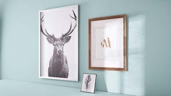 BJÖRKSTA Picture with frame, Horns/aluminium-colour, 118x78 cm