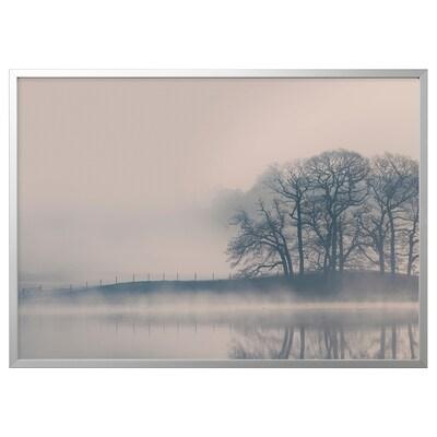 BJÖRKSTA Picture with frame, Misty landscape/aluminium-colour, 140x100 cm