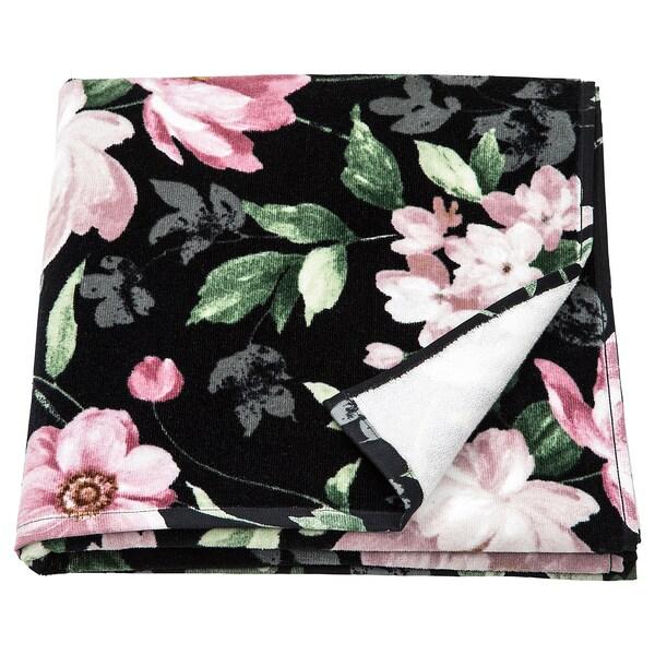 BLEKFRYLE Bath towel, black/flower, 70x140 cm