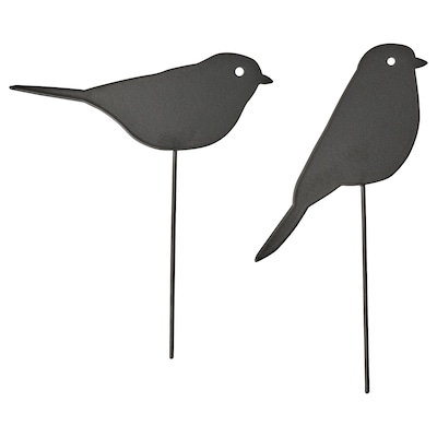 BLOMSTERBÖNA Decoration stick, set of 2, in/outdoor/bird black