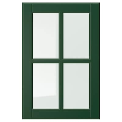 BODBYN Glass door, dark green, 40x60 cm