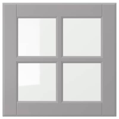 BODBYN Glass door, grey, 40x40 cm
