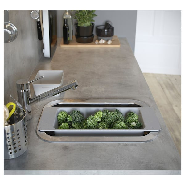 BOHOLMEN inset sink, 1 bowl stainless steel 15 cm 40 cm 23 cm 28 cm 44.6 cm 30 cm 46.6 cm 30.0 cm 16 cm 14.0 l
