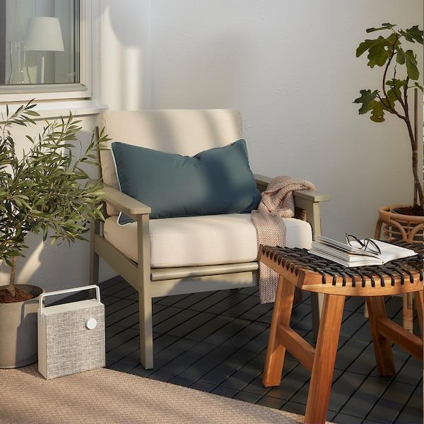 BONDHOLMEN كرسي بذراعين، خارجي, صباغ رمادي/Frösön/Duvholmen بيج