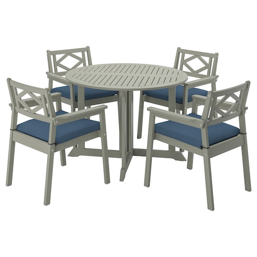 BONDHOLMEN table+4 chairs w armrests, outdoor grey stained/Frösön/Duvholmen blue