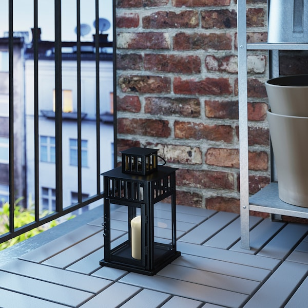 BORRBY Lantern for block candle, in/outdoor black, 28 cm