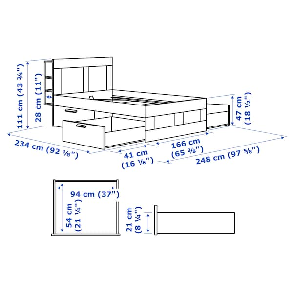 BRIMNES هيكل سرير مع تخزين ولوح رأس, أبيض/Lonset, 160x200 سم