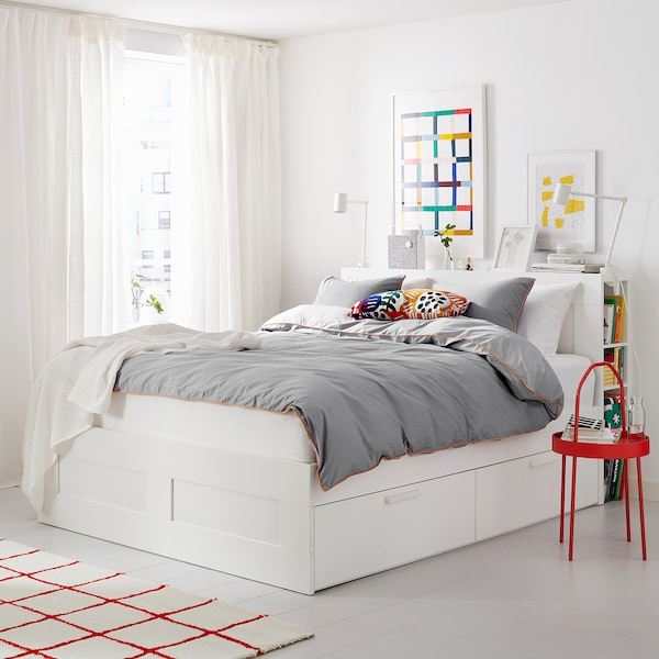BRIMNES Bed frame w storage and headboard, white, 160x200 cm