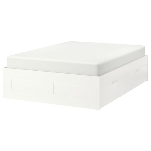 BRIMNES bed frame with storage white/Lönset 20 cm 206 cm 186 cm 47 cm 94 cm 54 cm 200 cm 180 cm