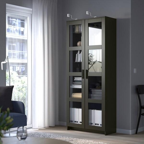 BRIMNES Glass-door cabinet, black, 80x190 cm
