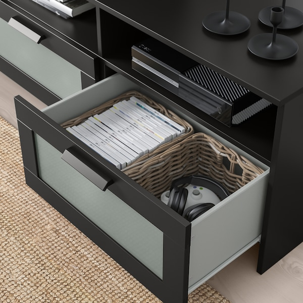 BRIMNES TV storage combination/glass doors, black, 320x41x190 cm
