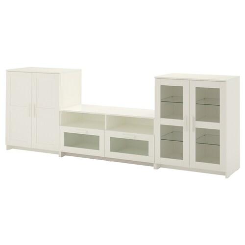 BRIMNES TV storage combination/glass doors white 276 cm 41 cm 95 cm