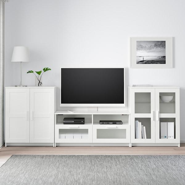 BRIMNES TV storage combination/glass doors, white, 276x41x95 cm