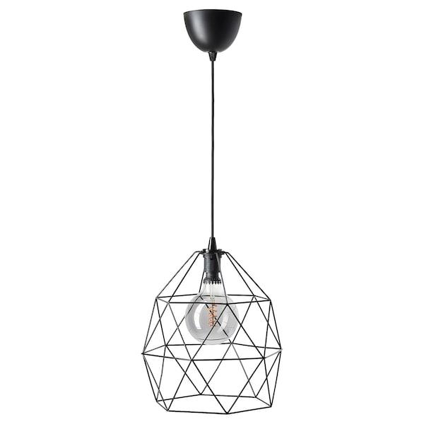 BRUNSTA / ROLLSBO Pendant lamp with light bulb, black/globe grey clear glass, 200 lmx125 mm