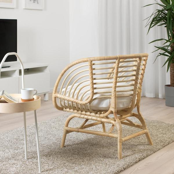 BUSKBO armchair rattan/Djupvik white 42 cm 72 cm 63 cm 75 cm 12 cm 43 cm 52 cm 32 cm