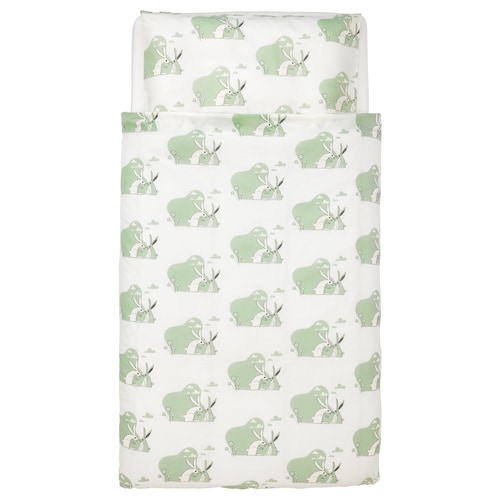 BUSSIG quilt cover/pillowcase for cot green 125 cm 110 cm 55 cm 35 cm