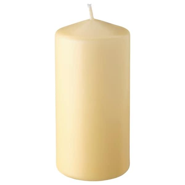 DAGLIGEN Unscented block candle, light yellow, 14 cm
