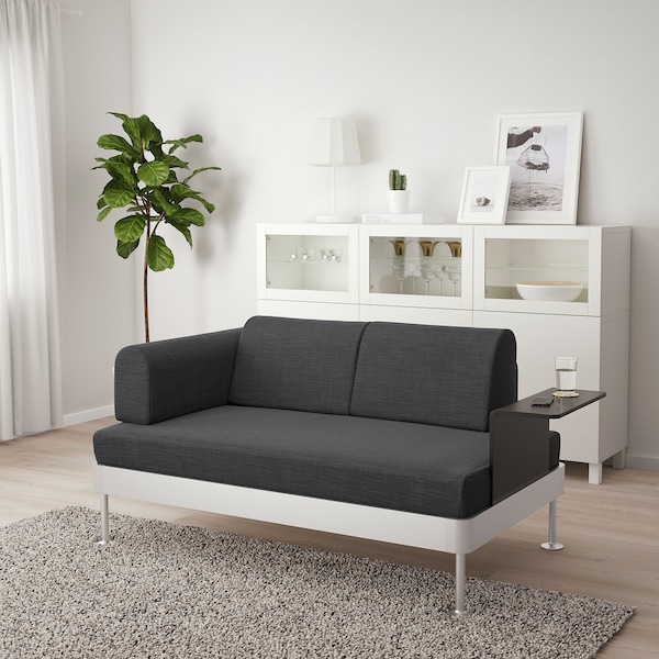 DELAKTIG 2-seat sofa with side table, Hillared anthracite