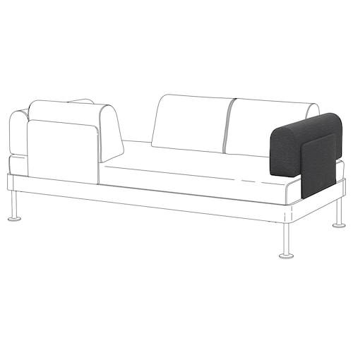 DELAKTIG armrest with cushion Hillared anthracite 70 cm 16 cm 27 cm
