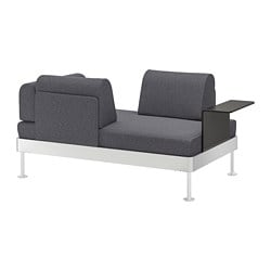 DELAKTIG 2-seat sofa with side table, Gunnared medium grey