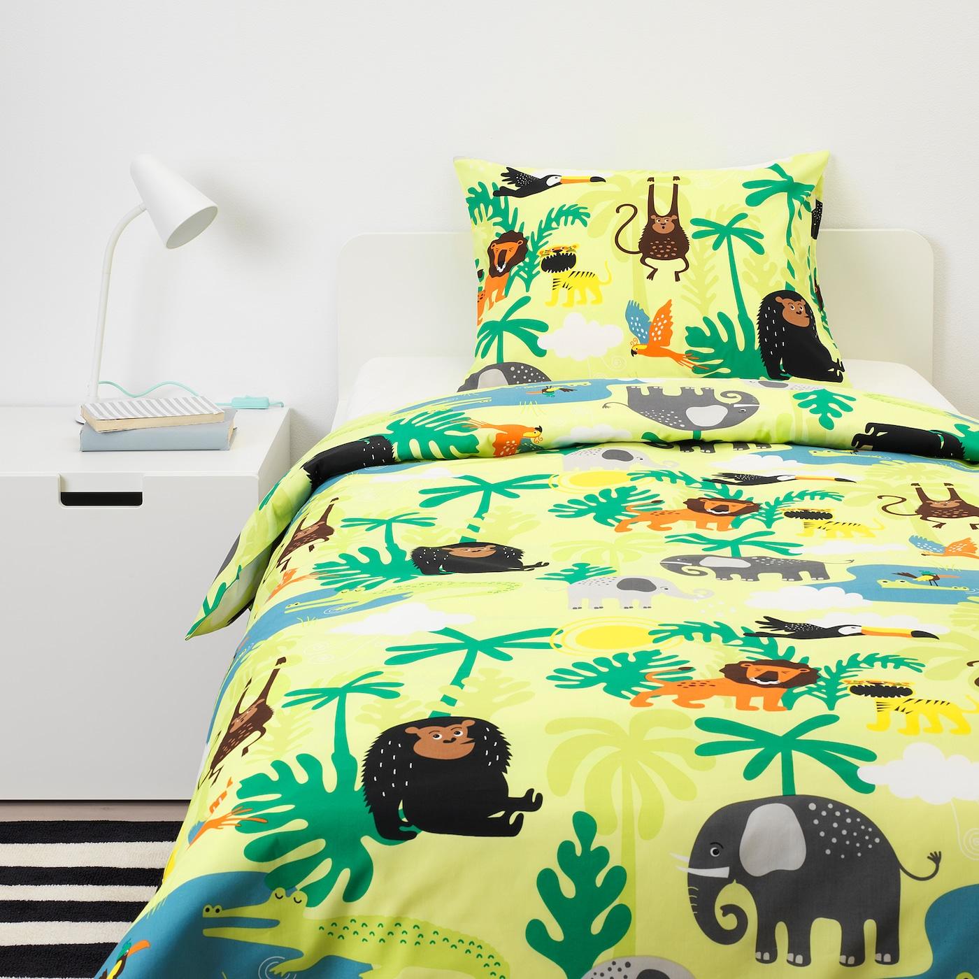 DJUNGELSKOG Quilt cover and pillowcase, animal/green, 150x200/50x80 cm