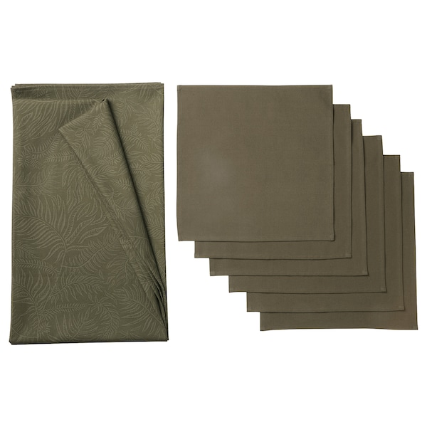 DOFTMINNE Tablecloth and 6 napkins, patterned/green, 145x240/38x38 cm