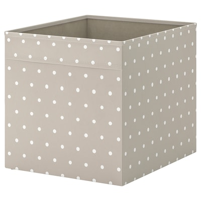 DRÖNA Box, beige/dotted, 33x38x33 cm