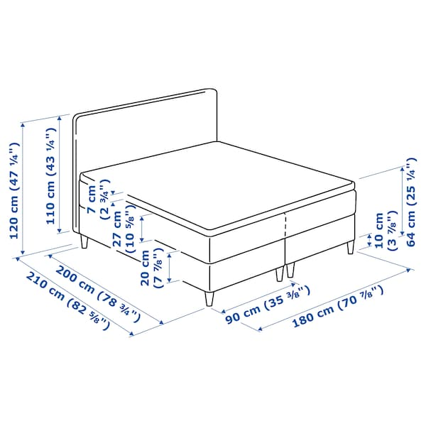 DUNVIK divan bed Hyllestad firm/Tustna light turquoise 210 cm 180 cm 120 cm 200 cm 180 cm