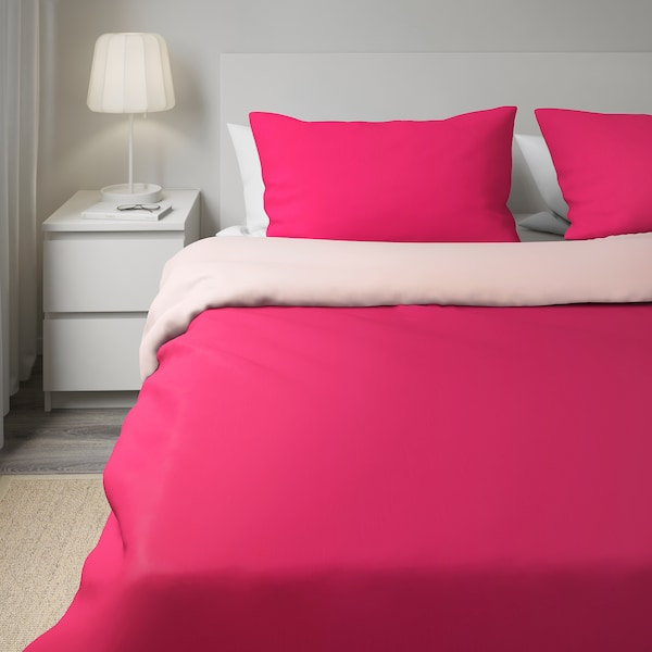 DVALA Quilt cover and 2 pillowcases, pink, 240x220/50x80 cm