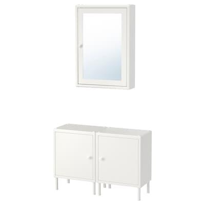 DYNAN خزانة بمرآة مع 2 خزانة قاعدة, أبيض, 80x27 سم