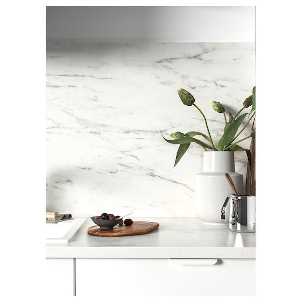 EKBACKEN Worktop, white marble effect/laminate, 186x2.8 cm