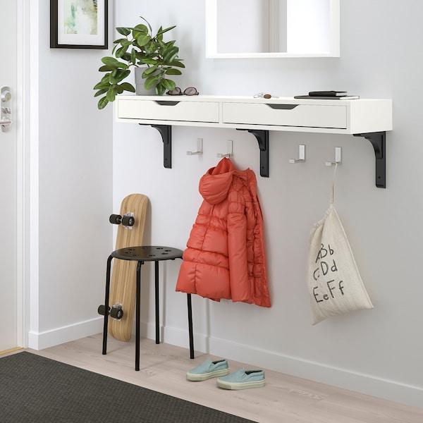 EKBY ALEX / RAMSHULT Wall shelf, white/black, 119x29 cm