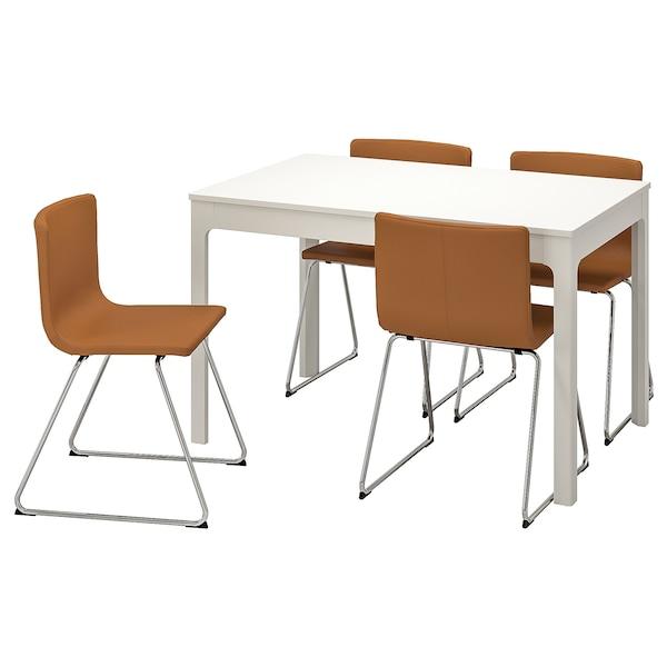 EKEDALEN / BERNHARD طاولة و4 كراسي, أبيض/Mjuk ذهبي-يني, 120/180 سم