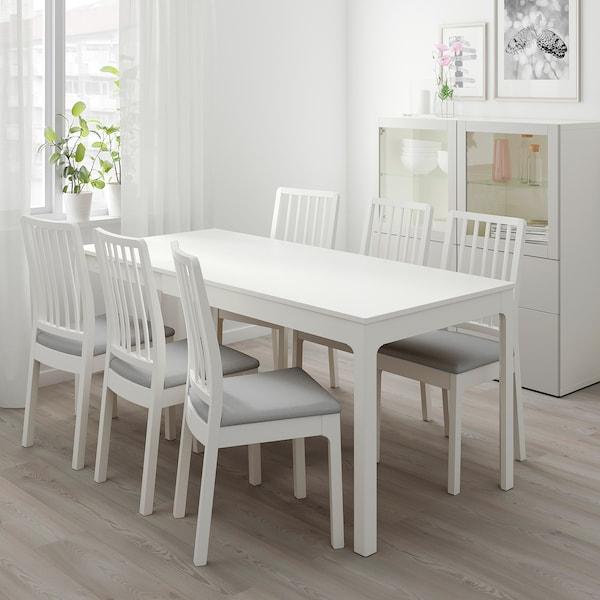 EKEDALEN / EKEDALEN طاولة و4 كراسي, أبيض/Orrsta رمادي فاتح, 120/180 سم