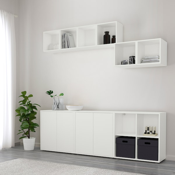 EKET Cabinet combination with feet, white, 210x35x180 cm