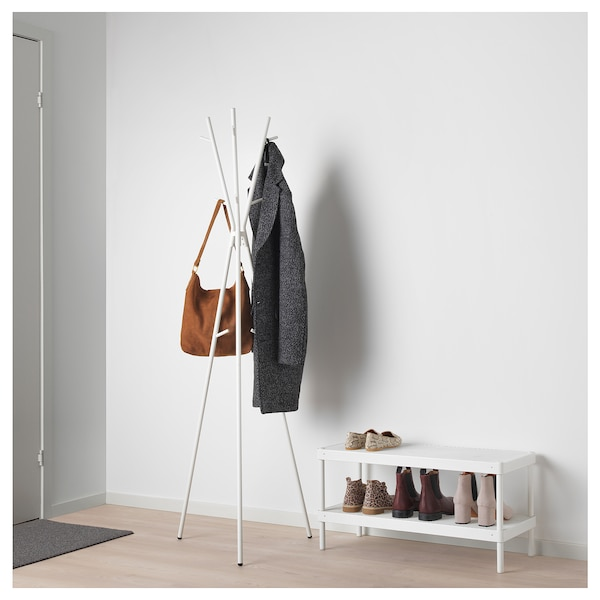 EKRAR Hat and coat stand, white, 169 cm