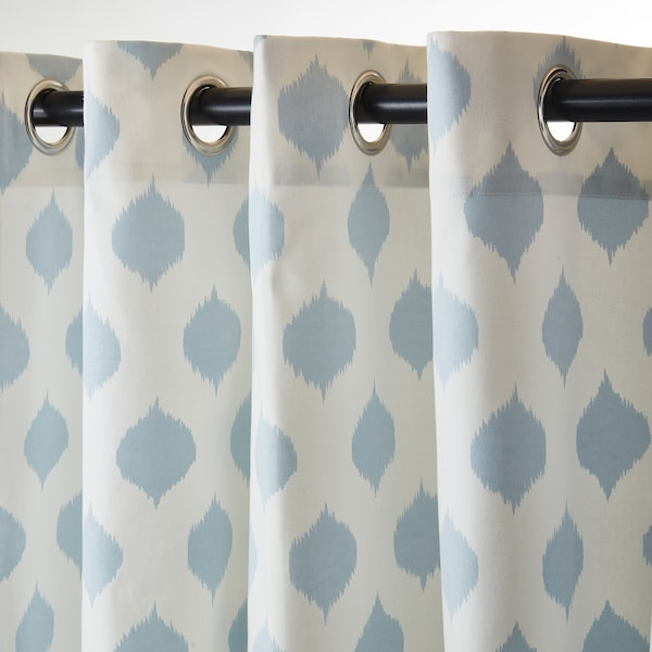 EKSPINNARE Pair of curtains with valance, blue, 145x300 cm