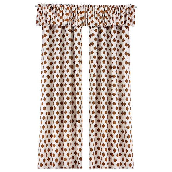 EKSPINNARE Pair of curtains with valance, brown, 145x300 cm
