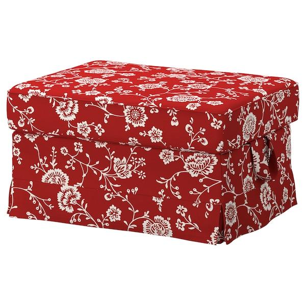 EKTORP Cover for footstool, Virestad red/white