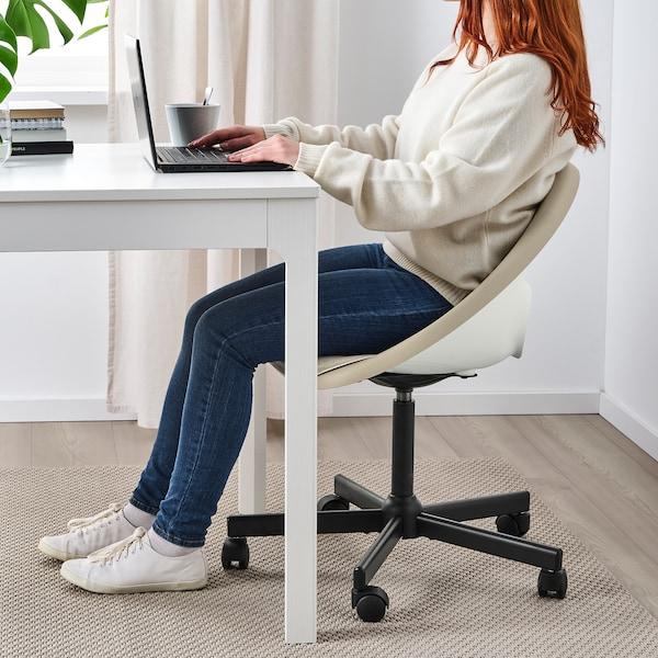 ELDBERGET / MALSKÄR Swivel chair with pad, beige/black
