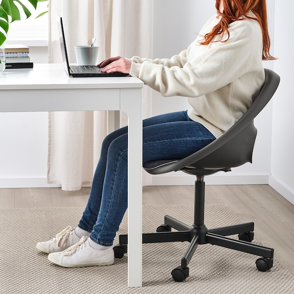 ELDBERGET / MALSKÄR Swivel chair with pad, black/dark grey