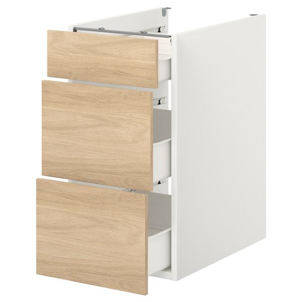ENHET Base cb w 3 drawers, white/oak effect, 40x60x75 cm