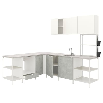 ENHET Corner kitchen, white/concrete effect white