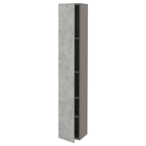 ENHET خزانة علوية مع 4 أرفف/باب, رمادي/تأثيرات ماديّة., 30x32x180 سم