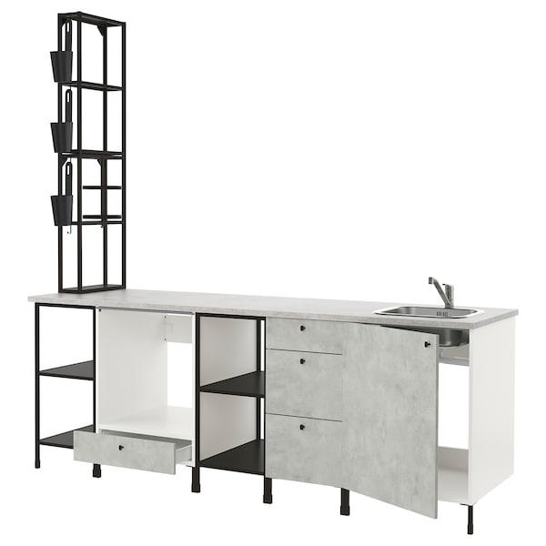 ENHET Kitchen, anthracite/concrete effect, 243x63.5x241 cm