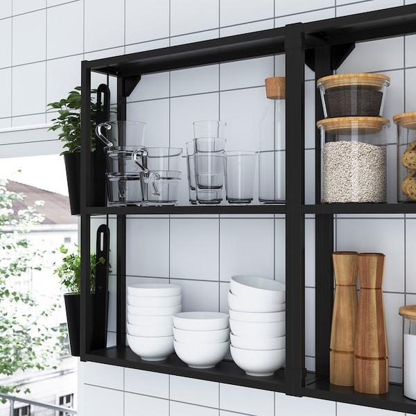 ENHET مطبخ, فحمي/تأثيرات ماديّة., 163x63.5x222 سم