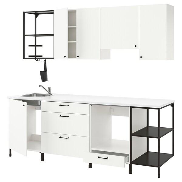 ENHET مطبخ, فحمي/أبيض, 243x63.5x222 سم