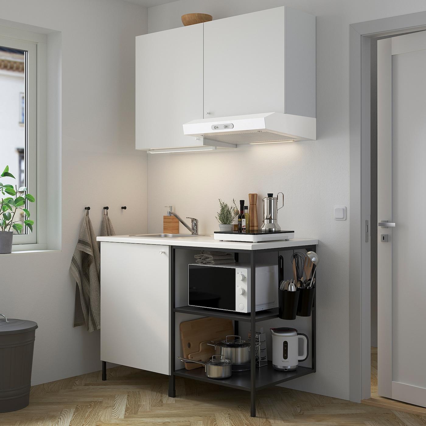 ENHET Kitchen, anthracite/white, 123x63.5x222 cm