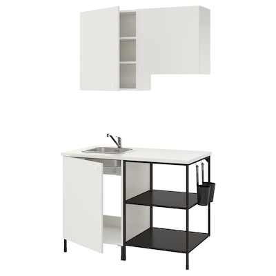 ENHET Kitchen, anthracite/white, 123x63.5x222 cm