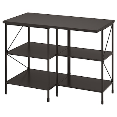 ENHET Kitchen isl storage comb w seating, anthracite, 123x63.5x91 cm